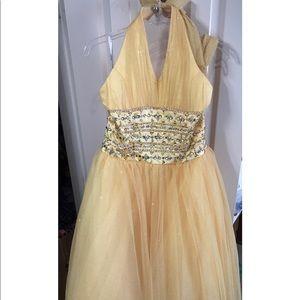 Full length yellow prom dress